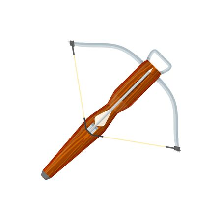 crossbow: colorer flat design medieval wooden textured metal elements crossbow with arrow isolated illustration on white background