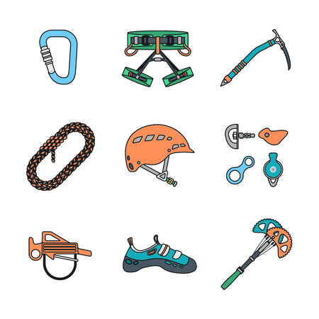 climbing gear: colored outline various climbing gear Illustration