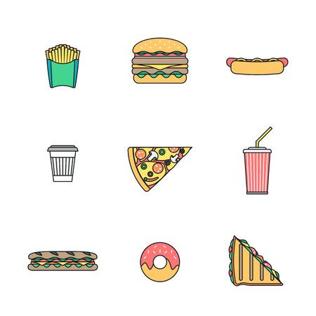 renkli anahat çeşitli fast food