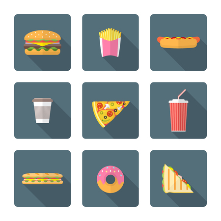 food and drink: color flat design various fast food
