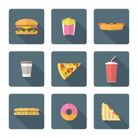 alimentos y bebidas: El dise�o plano de color diferentes de comida r�pida Vectores