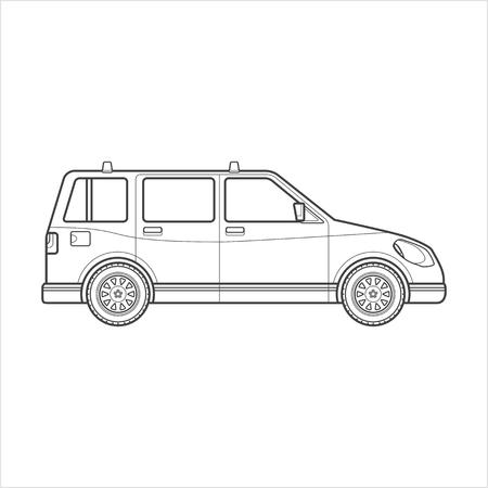 station wagon: black monochrome contour station wagon body type vehicle illustration isolated white background