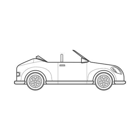 roadster: black monochrome contour convertible roadster vehicle body type illustration isolated white background Illustration