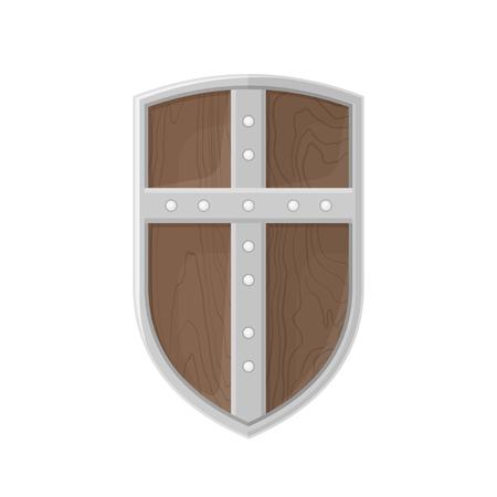 iron cross emblem: color flat design medieval wooden textured metal cross warrior Crusader shield isolated illustration on white background Illustration