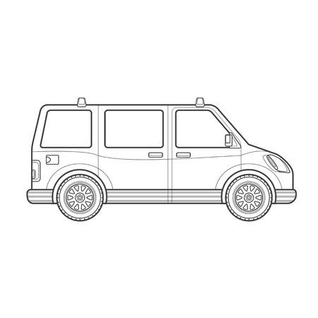 transporter: black monochrome contour passenger minivan body type vehicle illustration isolated white background