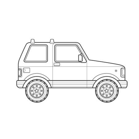 sport utility vehicle: black monochrome contour sport utility body type vehicle illustration isolated white background