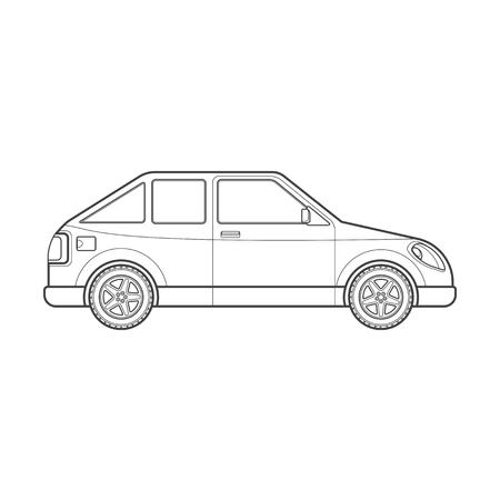 hatchback: black monochrome contour hatchback coupe body type vehicle illustration isolated white background Illustration