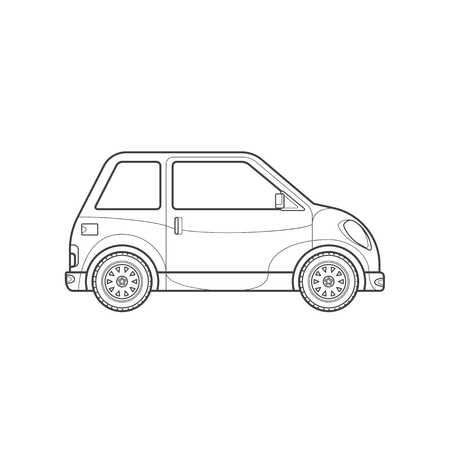 black monochrome contour subcompact body type vehicle illustration isolated white background Illustration