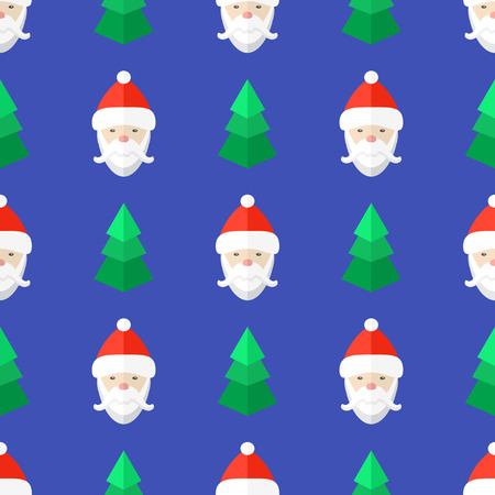 colored flat design new year christmas tree santa claus seamless pattern on blue background Illustration