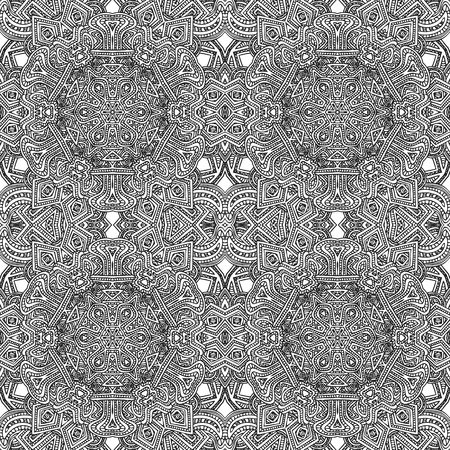 seamless tile: vector black monochrome hand drawn  seamless aztec pattern outline illustration on white background