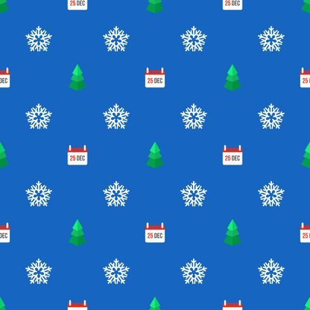 25 december: colored flat design new year christmas tree snowflake calendar 25 december seamless pattern on blue background
