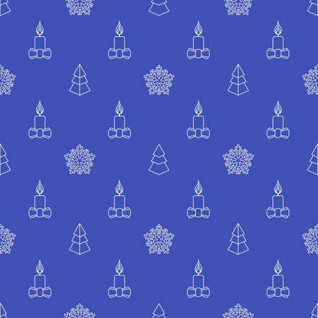 monochrome outline new year christmas tree candle snowflake seamless pattern on blue background