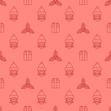 red monochrome outline new year christmas holly santa claus ribboned gift box seamless pattern on pink background Illustration