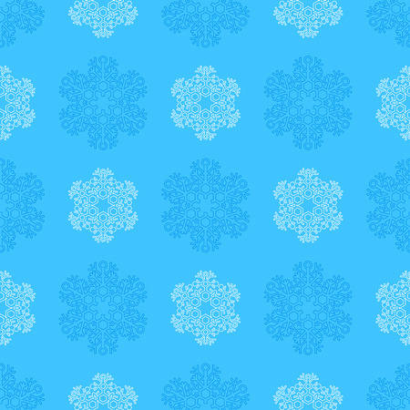 colored outline new year christmas blue cyan snowflakes seamless pattern on white background Illustration