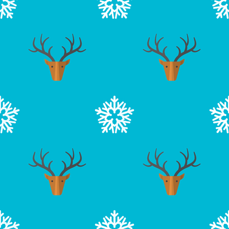 colored flat design new year christmas deer snowflake seamless pattern on cyan background