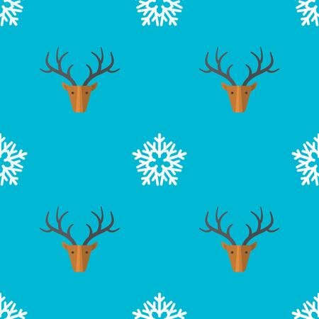 farbige flache Design neue Jahr Weihnachten Hirsch Schneeflocke nahtlose Muster auf Cyan Hintergrund