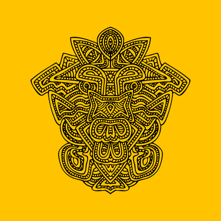 indian art: vector black monochrome hand drawn aztec mask isolated outline illustration on orange background Illustration