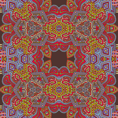 vector colored hand drawn zentangle seamless psychedelic seamless pattern outline illustration