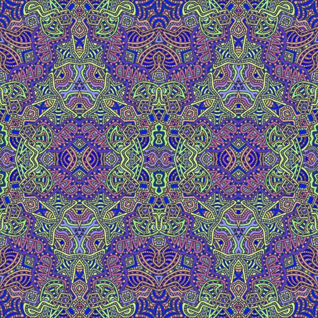 vector colored hand drawn  seamless psychedelic seamless pattern outline illustration