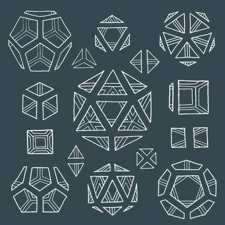 vector white outline hand drawn monochrome Platonic solids tetrahedron, cube, hexahedron, octahedron, dodecahedron, icosahedron isolated illustrations set on dark background