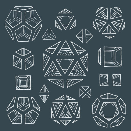polyhedron: vector white outline hand drawn monochrome Platonic solids tetrahedron, cube, hexahedron, octahedron, dodecahedron, icosahedron isolated illustrations set on dark background