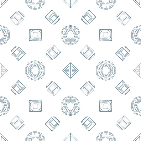 solids: vector gray outline abstract geometric hand drawn platonic solids polyhedrons seamless pattern on white background