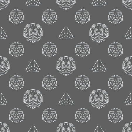 solids: vector white outline abstract geometric hand drawn platonic solids polyhedrons seamless pattern on gray background