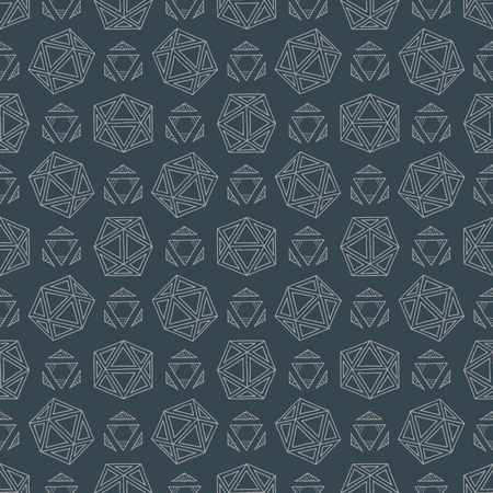 icosahedron: vector light outline abstract geometric hand drawn platonic solids polyhedrons seamless pattern on dark background