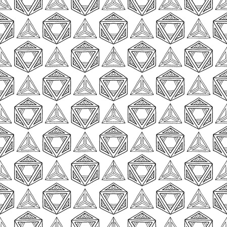 icosahedron: vector black outline abstract geometric hand drawn platonic solids polyhedrons seamless pattern on white background