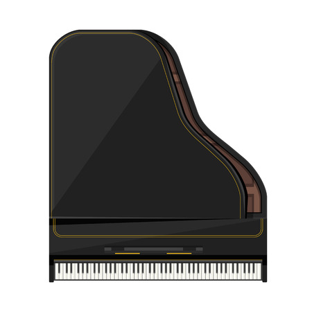 keyboard instrument: vector black color gold stripes flat design grand piano illustration isolated on white background top view