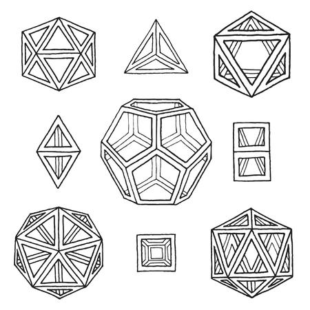 vector black outline hand drawn monochrome Platonic solids tetrahedron, cube, hexahedron, octahedron, dodecahedron, icosahedron isolated illustrations set on white background Illustration