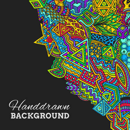 abstract doodle: vector colored abstract  hand drawn doodle background illustration on black background