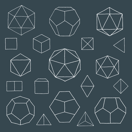icosahedron: vector white outline hand drawn monochrome Platonic solids tetrahedron, cube, hexahedron, octahedron, dodecahedron, icosahedron isolated illustrations set on dark background