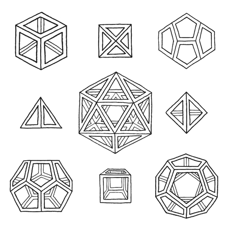 solids: vector black outline hand drawn monochrome Platonic solids tetrahedron, cube, hexahedron, octahedron, dodecahedron, icosahedron isolated illustrations set on white background Illustration