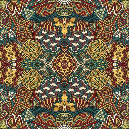 Vektör Retro renkli elle soyut psychedelic seamless pattern illüstrasyon çizilmiş