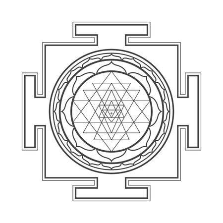 vector black outline hinduism Sri yantra Sri Chakra illustration triangles diagram isolated on white background