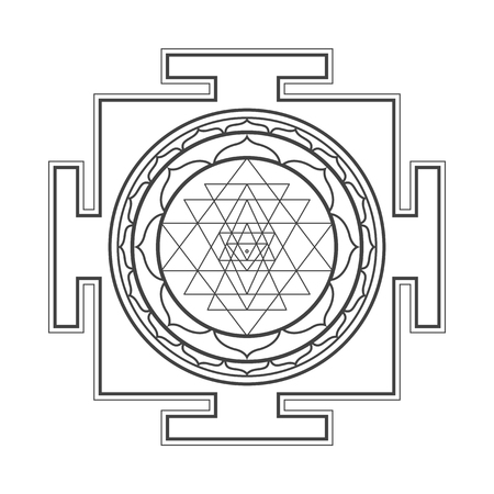 vector black outline hinduism Sri yantra Sri Chakra illustration triangles diagram isolated on white background