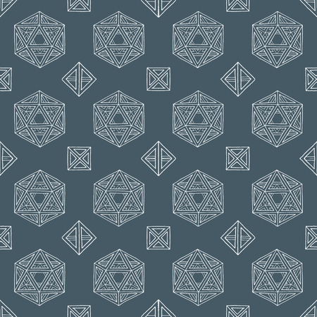 solids: vector white outline abstract geometric hand drawn platonic solids polyhedrons seamless pattern on dark background Illustration