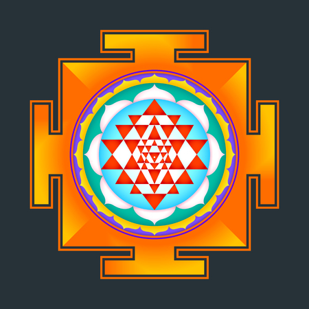 tantra: vector colored hinduism Sri yantra Sri Chakra illustration triangles diagram isolated on black background Illustration