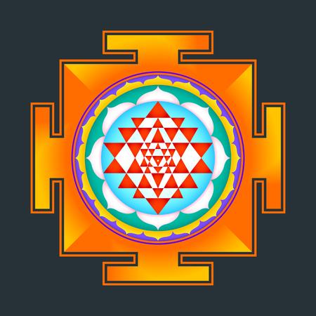 vector colored hinduism Sri yantra Sri Chakra illustration triangles diagram isolated on black background Illustration