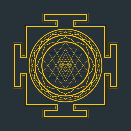 vector gold outline hinduism Sri yantra Sri Chakra illustration triangles diagram isolated on black background Иллюстрация