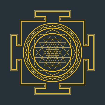 sri yantra: vector gold outline hinduism Sri yantra Sri Chakra illustration triangles diagram isolated on black background Illustration