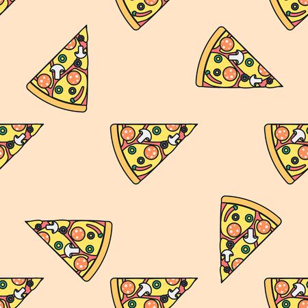 tomato slice: vector colored triangle pizza slice mushrooms olives pepperoni chili pepper cheese tomato seamless pattern on light orange background Illustration