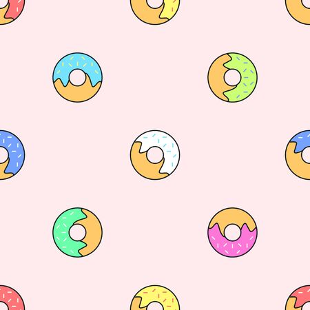 glazed: vector colored outline various red yellow green pink white blue donuts seamless pattern on light orange background