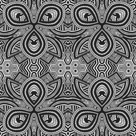 vector black monochrome hand drawn geometric  optical art seamless pattern illustration white background