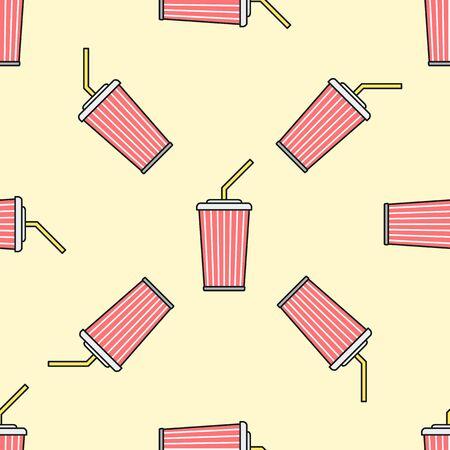 Açık sarı bir arka plan üzerinde vektör renkli anahat kırmızı kola soda köpüklü şekerli su paket fincan saman sorunsuz desen Illustration