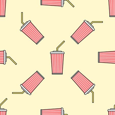 outline red: vector colored outline red cola soda sparkling sugar water takeaway cup straw seamless pattern on light yellow background