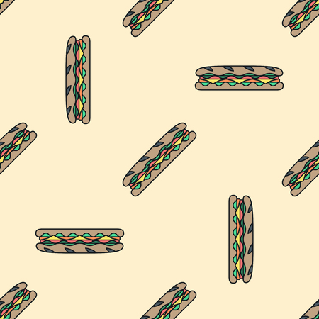 ham and cheese: vector colored submarine rye baguette sandwich salad ham cheese tomato seamless pattern on light orange background