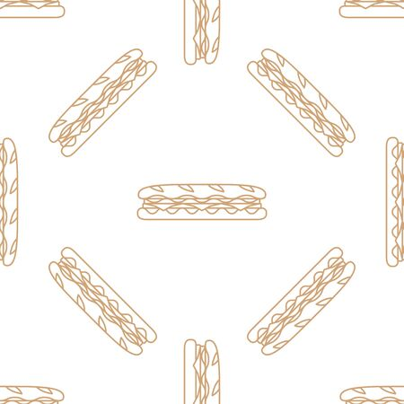 ham and cheese: vector brown gold color outline submarine rye baguette sandwich salad ham cheese tomato seamless pattern on white background