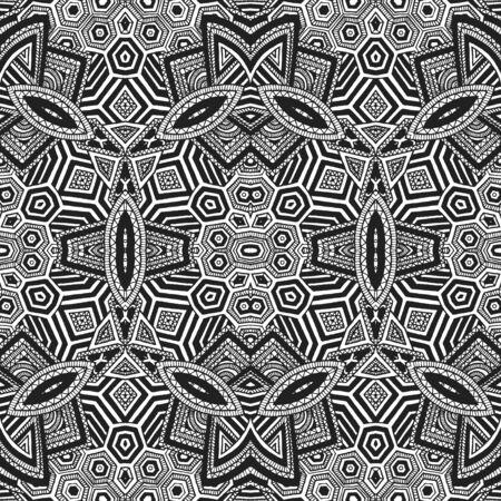 arte optico: vector mano monocromático negro dibuja el arte óptico ilustración sin patrón geométrico fondo blanco zentangle
